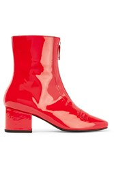 Dorateymur Double Delta Patent Leather Ankle Boots Red