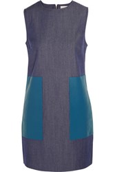 Richard Nicoll Leather Paneled Denim Dress Mid Denim