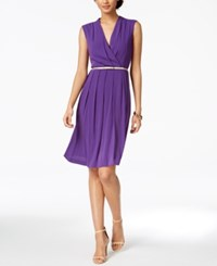 Ellen Tracy Petite Belted A Line Dress Orchid