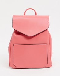 French Connection Faux Leather Drawstring Backpack Pink