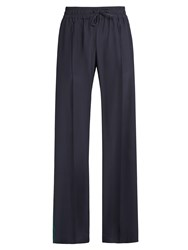 Serena Bute Drawstring Wide Leg Silk Trousers Navy Stripe