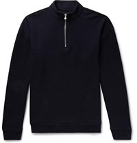 The Elder Statesman Intarsia Cashmere Half Zip Sweater Navy