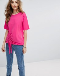 Warehouse Ruched Side Tee Bright Pink