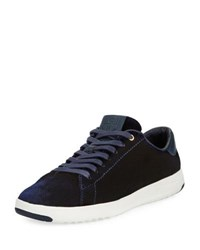 Cole Haan Grand Pro Velvet Tennis Shoe Marine Blue