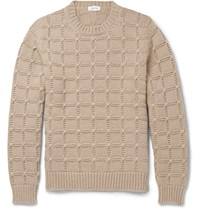 Brioni Slim Fit Cable Knit Cashmere Sweater Brown