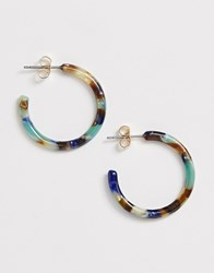 Ny Lon Nylon Resin Grey Hoop Earrings