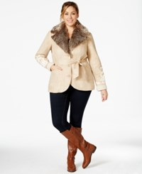 Inc International Concepts Plus Size Tied Waist Faux Shearling Coat Only At Macy's Light Camel