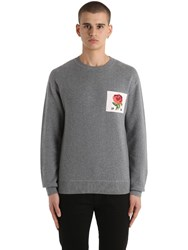 Kent And Curwen Rose Patch Wool Blend Sweater Grey