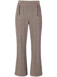 See By Chloe Cropped Houndstooth Trousers Women Cotton Acrylic Polyamide Wool 38 Brown