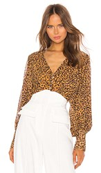 C Meo Collective Apparent Top In Brown. Mustard Painted Spot