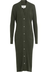 Maison Martin Margiela Cardigan With Wool And Cashmere Green