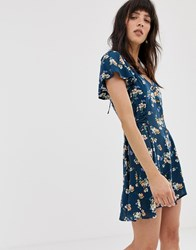 Band Of Gypsies Tie Side Skater Dress In Blue Floral Print