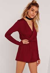 Missguided Crepe Wrap Playsuit Burgundy
