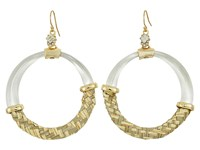 Alexis Bittar Woven Raffia Hoop Wire Earrings Polished Silver