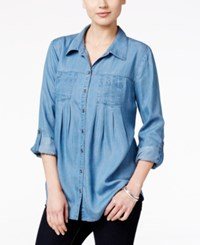 Styleandco. Style Co. Petite Denim Tab Sleeve Shirt Only At Macy's Sun Wash