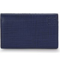 Loewe Textured Leather Business Card Holder Navy Blue