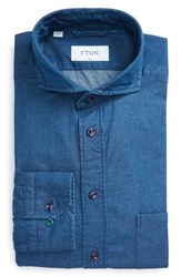 Eton Men's Big And Tall Slim Fit Denim Dress Shirt Blue