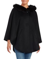Sofia Cashmere Fox Fur Trimmed Cape Black