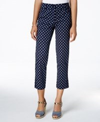 Charter Club Tummy Control Printed Cropped Pants Only At Macy's Intrepid Blue Combo