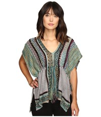 Free People Moonlit Path Pullover Green Combo Women's Short Sleeve Pullover