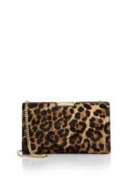 Milly Logan Small Leopard Print Calf Hair Clutch