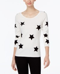 Inc International Concepts Star Print Sweater Only At Macy's Washed White