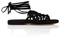 Alumnae Women's Knotted Suede Thong Sandals Black