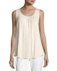 Neiman Marcus Lace Back Jersey Tank Top Ivory