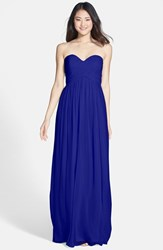 Women's Donna Morgan 'Laura' Ruched Sweetheart Silk Chiffon Gown Royal