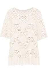 Chloe Fringed Crocheted Cotton And Silk Blend Top Ivory