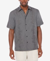 Cubavera Men's Big And Tall Embroidered Chambray Shirt Jet Black