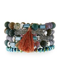 Nakamol Multi Row Crystal Stretch Bracelet Green Gray Mix