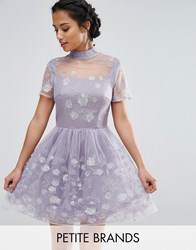 Chi Chi Petite London Mesh High Neck Mini Prom Skater Dress With Floral Metallic Embroidery Lavender Purple
