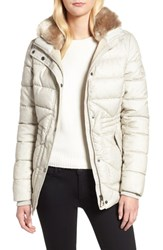 Barbour Langstone Faux Fur Trim Quilted Coat Mist