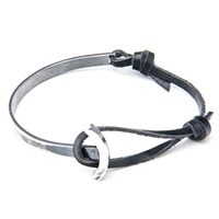 Anchor And Crew Leather Silver Galleon Braceletblack 23Cm