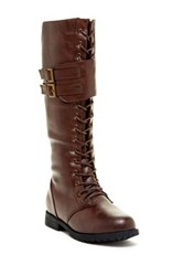 West Blvd Shoes Manila Faux Leather Military Lace Up Boot Brown