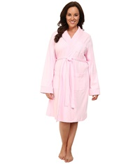 Lauren Ralph Lauren Plus Size Essentials Quilted Collar And Cuff Robe Biscayne Rose Women's Robe Pink