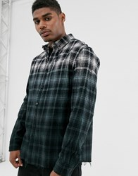 Good For Nothing Check Shirt In Ombre Fade With Raw Hem Black