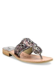 Jack Rogers Cleo Sparkle And Leather Slides Pewter Gold