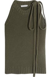 J.W.Anderson Ribbed Cotton Top Army Green
