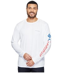 Columbia Terminal Tackle Pfg Long Sleeve Shirt White Stars And Stripes Men's Long Sleeve Pullover