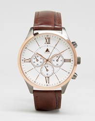 Asos Watch In Mixed Metal Finish With Brown Croc Strap Brown