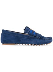 Tory Burch Logo Plaque Loafers Women Leather Suede Rubber 8.5 Blue