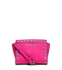 Michael Kors Selma Mini Studded Saffiano Leather Messenger Raspberry