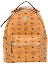 Mcm Diamond Print Backpack Brown