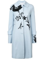 Carolina Herrera Flower Detail Single Breasted Coat Blue