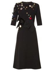 Dolce And Gabbana Button Embellished Wool Blend Dress Black