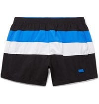 Hugo Boss Mid Length Striped Swim Shorts Blue