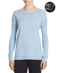 Lord And Taylor Petite Merino Wool Crewneck Sweater Cool Blue Heather