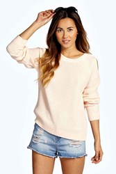 Boohoo Cut Out Shoulder Moss Stitch Jumper Nude